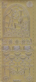 Zier-Sticker-Bogen-ChristlicheMotive-Fenster-Girl-gold-232g