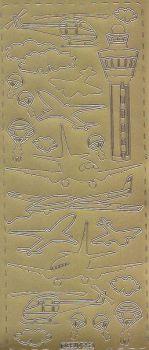 Zier-Sticker-Bogen-Flugzeuge-gold-0253g