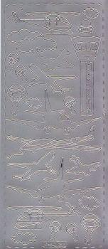Zier-Sticker-Bogen-Flugzeuge-silber-0253s