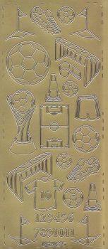 Zier-Sticker-Bogen-Fussball--gold-0255g