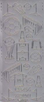 Zier-Sticker-Bogen-Fussball--silber-0255s