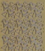 Zier-Stickerbogen-Herzchen verschiedene Größen-gold-310g