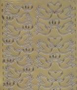 Zier-Sticker-Bogen-Turteltauben-Tauben-Paare-gold-338g