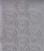 Zier-Sticker-Bogen-Jubiläums-Zahlen-25 mit Kranz-silber-346s