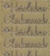 Zier-Sticker-Bogen-Herzlichen Gl�ckwunsch-gro� geschrieben-gold-463g