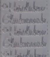 Zier-Sticker-Bogen-Herzlichen Glückwunsch-groß geschrieben-silber-463s