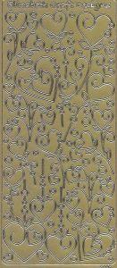 Zier-Sticker-Bogen-moderne Herzen -gold-490gED