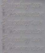 Zier-Sticker-Bogen-0497s-Einladung zur Kommunion-silber