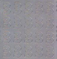 Zier-Sticker-Bogen-Zahlen-nur 3 -silber-540s