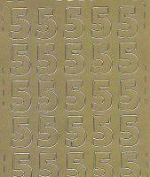 Zier-Sticker-Bogen-Zahlen-nur 5 -gold-542g