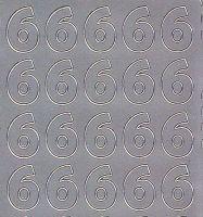 Zier-Sticker-Bogen-Zahlen-nur 6 -silber-543s