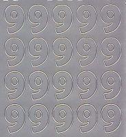 Zier-Sticker-Bogen-Zahlen-nur 9 -silber-546s