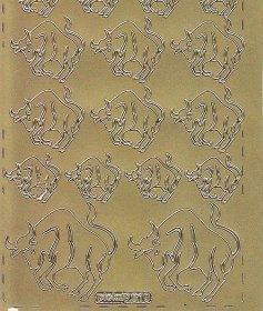 Zier-Sticker-Bogen-Sternzeichen-Stier-gold-610g