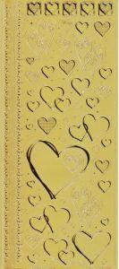 Spiegelsticker-Bogen-613spg-verschiedene Herzchen -gold