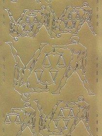 Zier-Sticker-Bogen-Sternzeichen-Waage-gold-615g