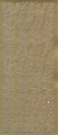 Zier-Sticker-Bogen-Kalender Zahlen-gold-0641g