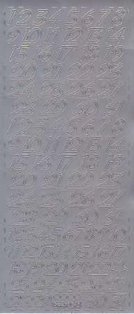 Zier-Sticker-Bogen-Kalender Zahlen-silber-0641s