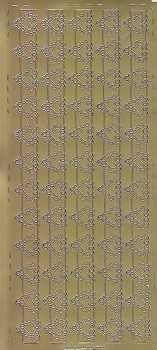 Zier-Sticker-Bogen -Ränder / Bordüren / Herzen-gold-0670g