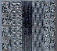 Zier-Sticker-Bogen-versch.dünne Ränder-Bordüren und kleine Ecken-silber-674s