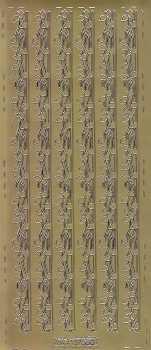 Zier-Sticker-Bogen-0680g -Ränder / Bordüren / Blätter-gold