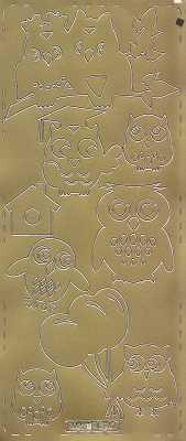 Zier-Sticker-Bogen -verschiedene Eulen-gold-0690g