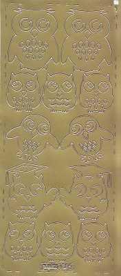 Zier-Sticker-Bogen -verschiedene Eulen-gold-0691g