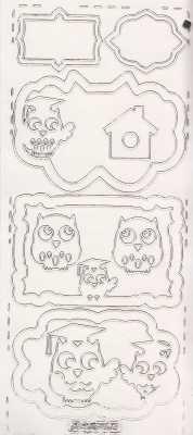 Zier-Sticker-Bogen -Rahmen - Eulen-transparent-silber-0693trs