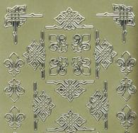 Zier-Sticker-Bogen-verschiedene Ecken-gold-744g