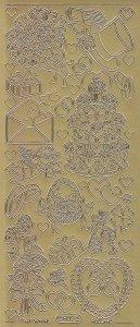 Zier-Sticker-Bogen-0802g-Hochzeit-Torte-Strauß.Ringe-gold