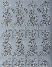Zier-Sticker-Bogen-Christliche Motive-Kreuz/Kerze-896s