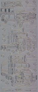 Zier-Sticker-Bogen -LKW-Lastwagen-silber-1006s