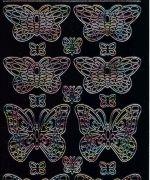 Zier-Sticker-Bogen-1013schwm-Schmetterlinge -Schwarz/multi