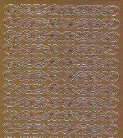 Zier-Sticker-Bogen-1020k -kurze verschnörkelte Ränder-gold