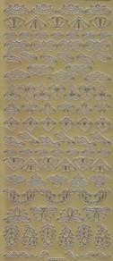 Zier-Sticker-Bogen-Ornamente und Ecken-gold-1022g