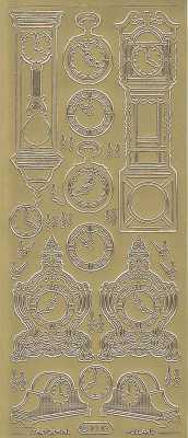Zier-Sticker-Bogen-Uhren-Stand und Wanduhren-gold-1043g