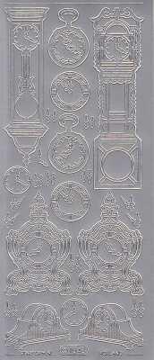 Zier-Sticker-Bogen-1043s-Uhren-Stand und Wanduhren-silber