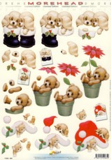 3D Etappen-Bogen-Morehead 065-Teddy und Hund weihnachtlich
