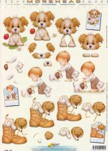 3D Etappen-Bogen-Morehead 199- verspielte Hunde