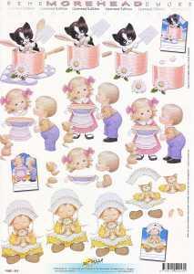 3D Etappen-Bogen-Morehead 213- Mädchen mit Katze-frisch gebacken