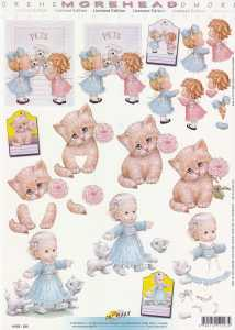 3D Etappen-Bogen-Morehead 223- Kätzchen-Mädchen mit weißen Katzen