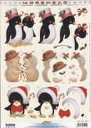 MOREHEAD-3D Stanzbogen-Nr.356-weihnachtliche Igel und Pinguine