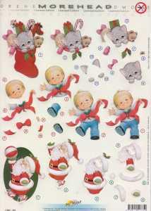 MOREHEAD-3D Stanzbogen-Nr.375-Weihnachtsmann - Weihnachsstrumpf