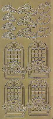 Zier-Sticker-Bogen-verschiedene Eheringe-Herzen-Kirchenfenster-gold-1133g