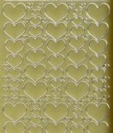 Zier-Sticker-Bogen -Herzen in verschiedenen Größen-gold-1139g