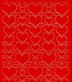 Zier-Sticker-Bogen -Herzen in verschiedenen Größen-rot-1139r