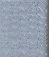 Zier-Sticker-Bogen-1139s -Herzen in verschiedenen Größen-silber
