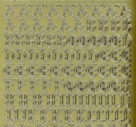 Zier-Sticker-Bogen-1155g-Alphabet-ABC-Gothic 2-gold