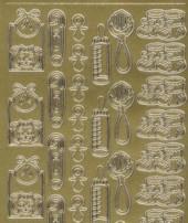 Zier-sticker-Bogen-0116g-Baby-Motive-gold