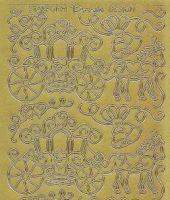 Zier-Sticker-Bogen-1186g-Hochzeit-Pferd-Kutsche-gold