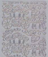 Zier-Sticker-Bogen-Hochzeit-Pferd-Kutsche-silber-1186s